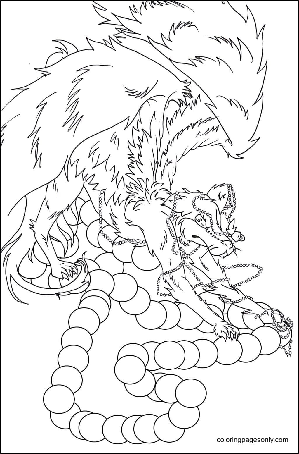 Free Wolf With Wings Coloring Page