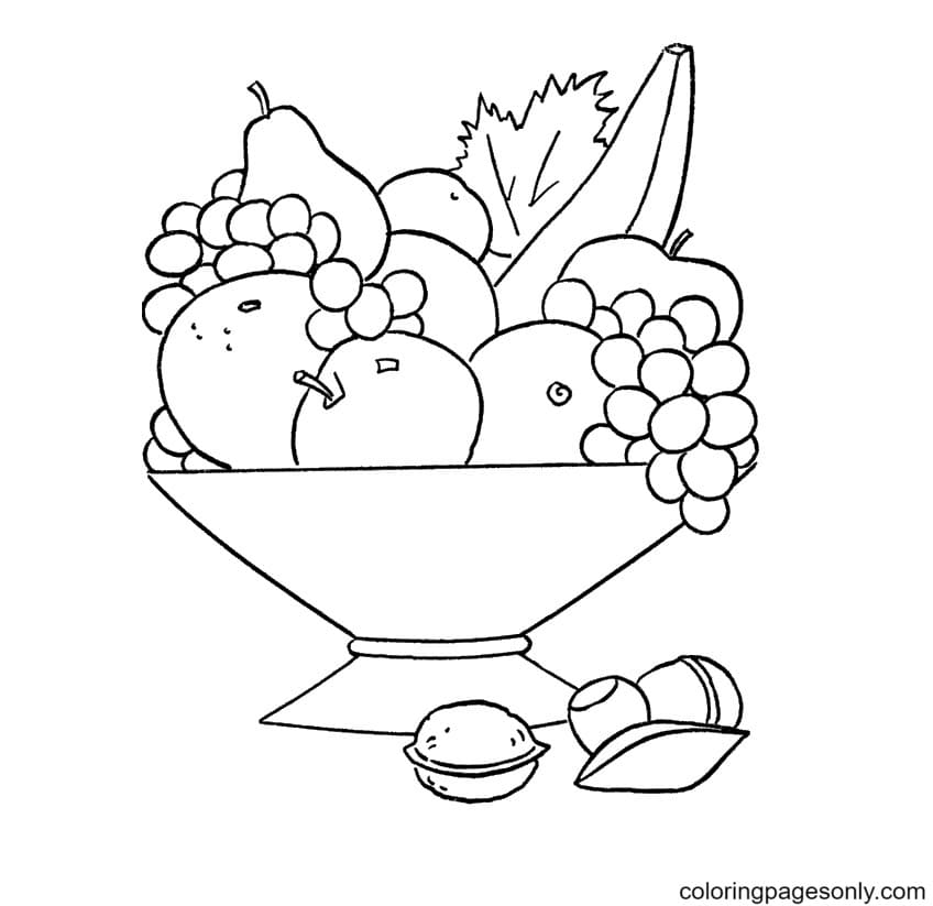 Fruits mix Coloring Page
