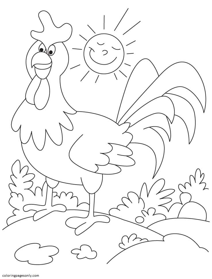 Funny Rooster Farm Animal Coloring Page