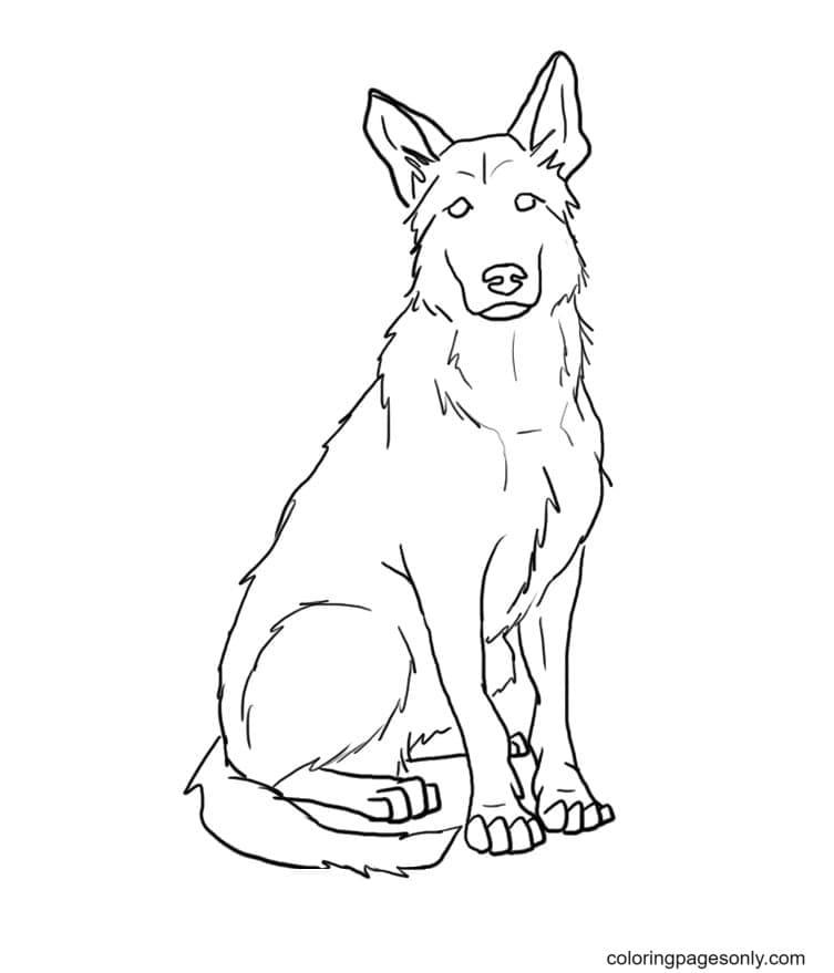 German Shepherd Dog Coloring Page
