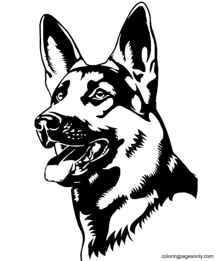German Shepherd Line Art Drawing Coloring Page