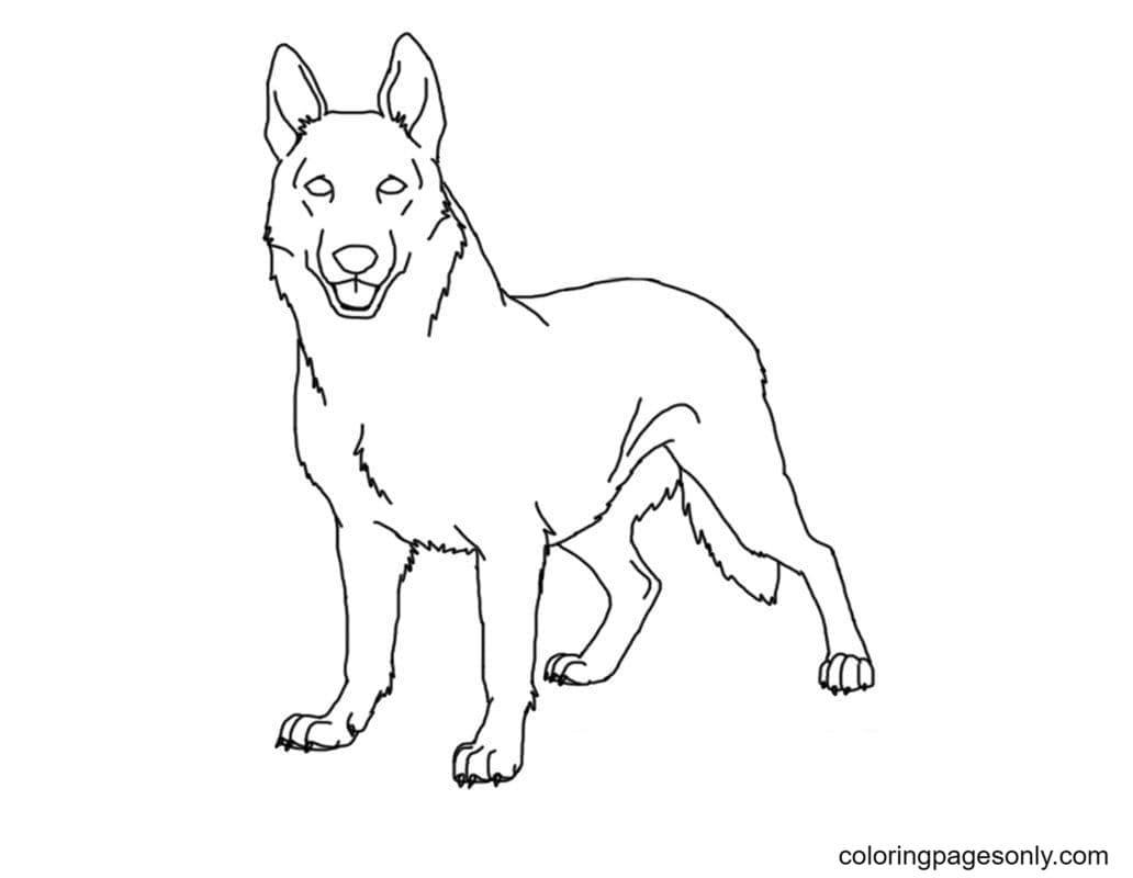 German Shepherd Printable Coloring Page