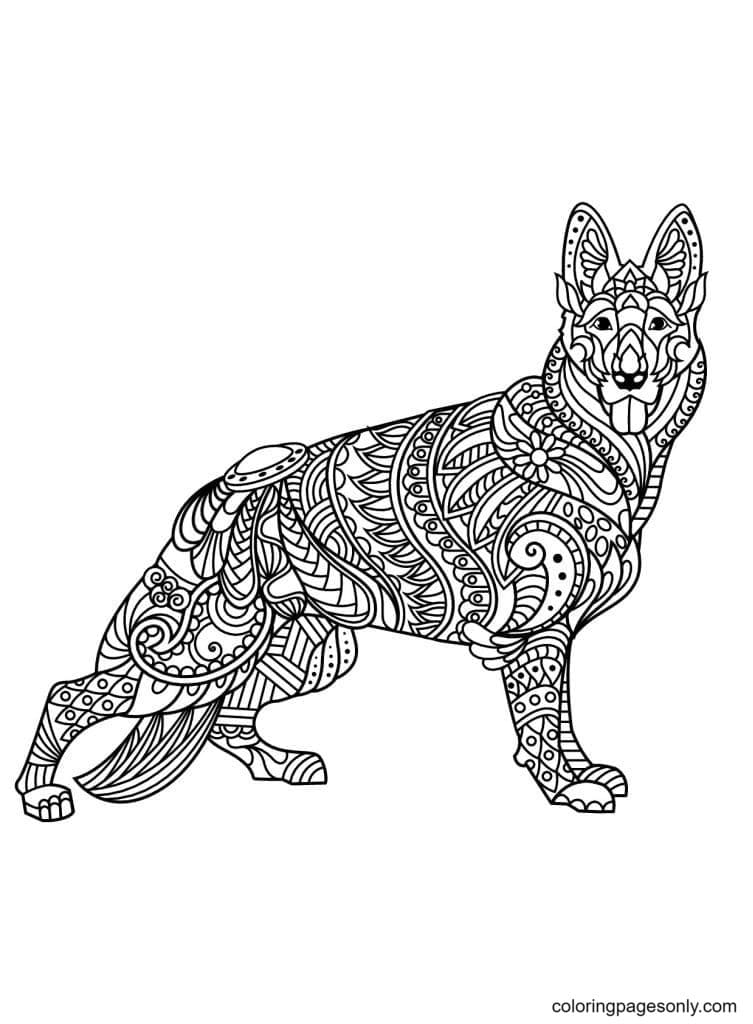 German Shepherd for Adults Coloring Page