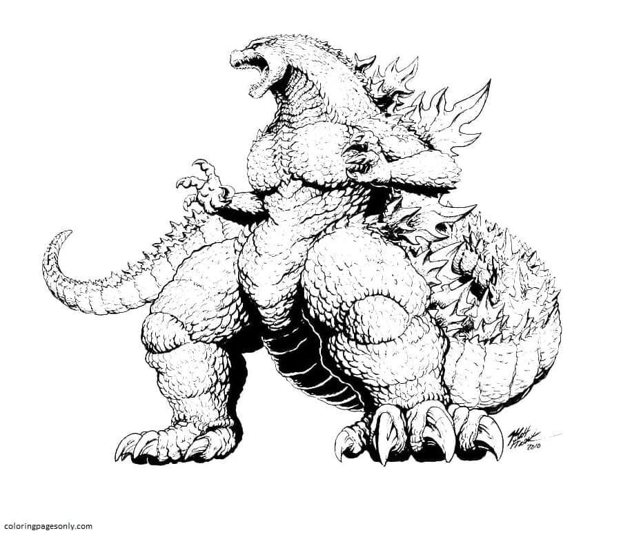 Giant Godzilla Coloring Page