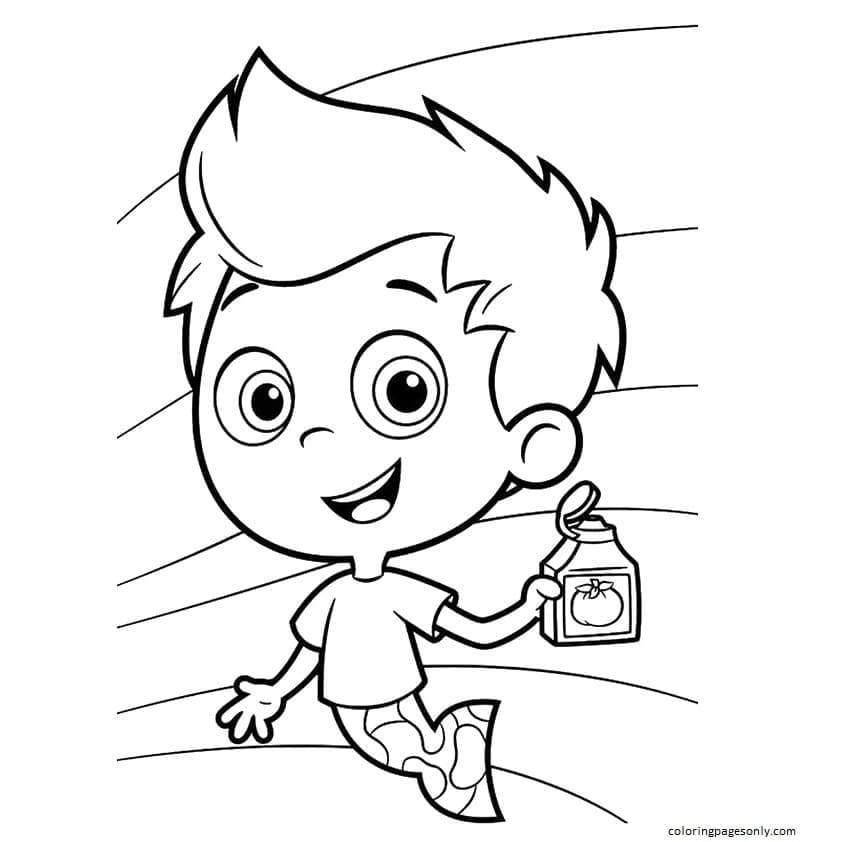 Gil has Bottle in Hand Coloring Page