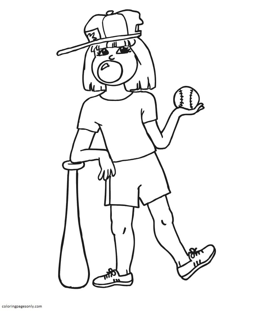 Girl Blowing Bubble Coloring Page