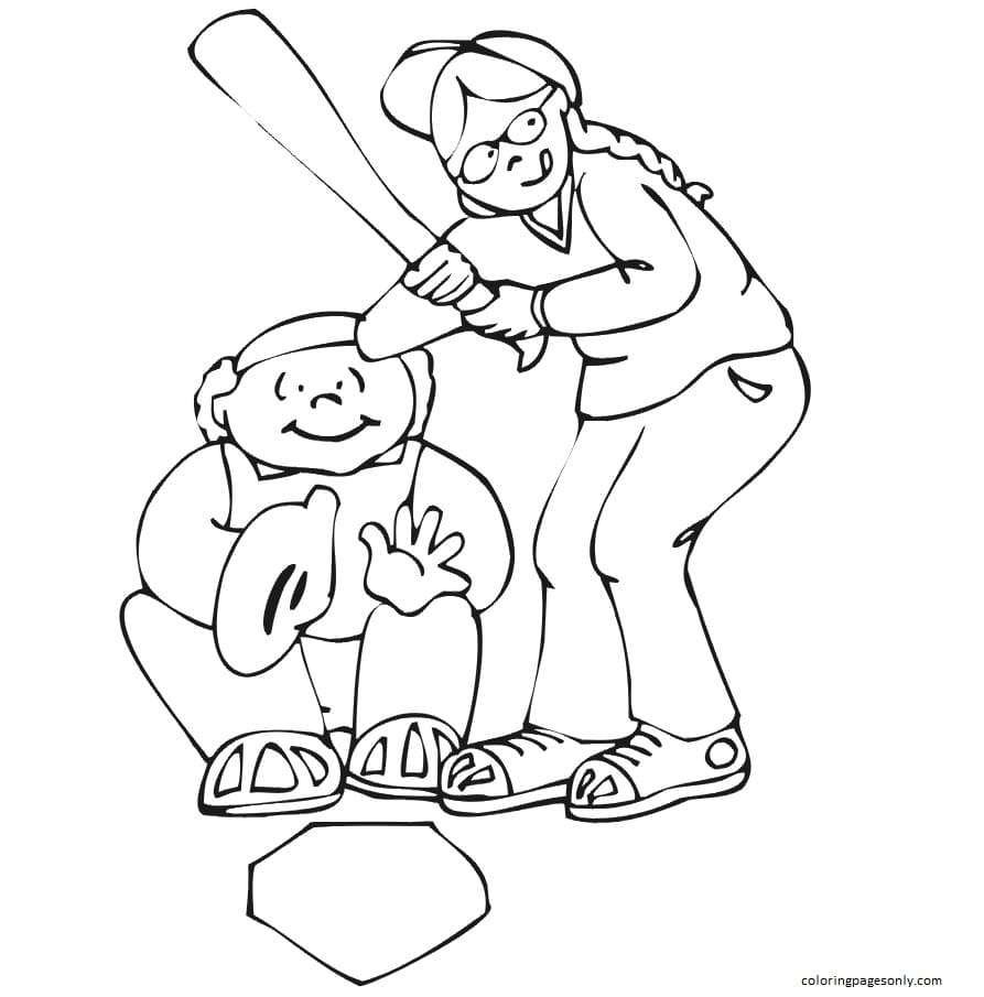 Girl Catcher And Batter Coloring Page