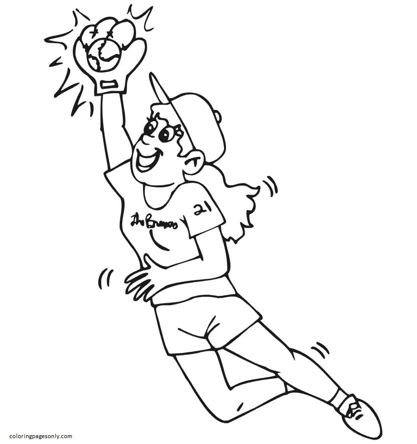 Girl Catching Ball Coloring Page