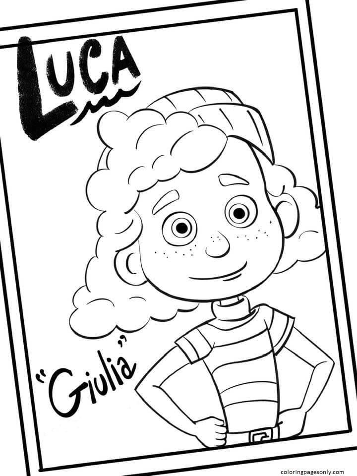 Giulia Disney Luca Coloring Page