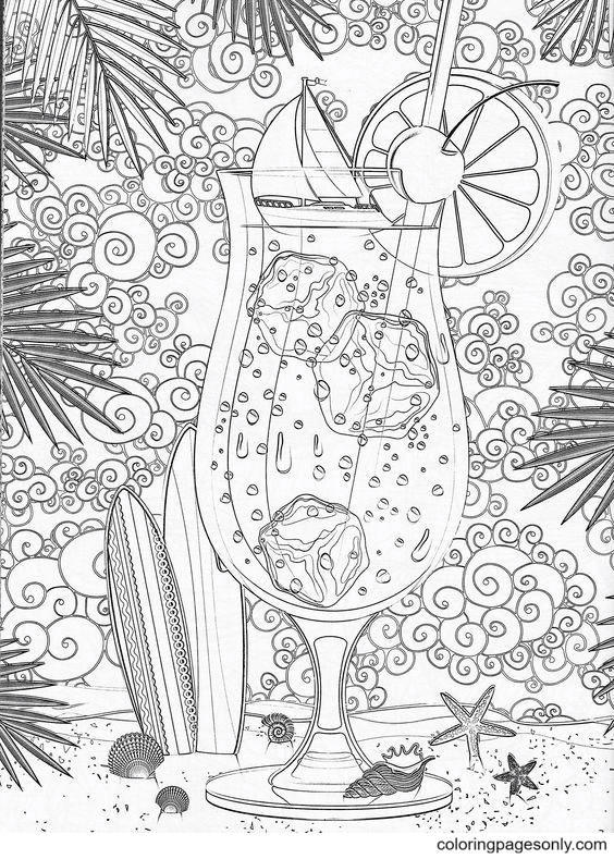 Glass of ice water Hard Coloring Page