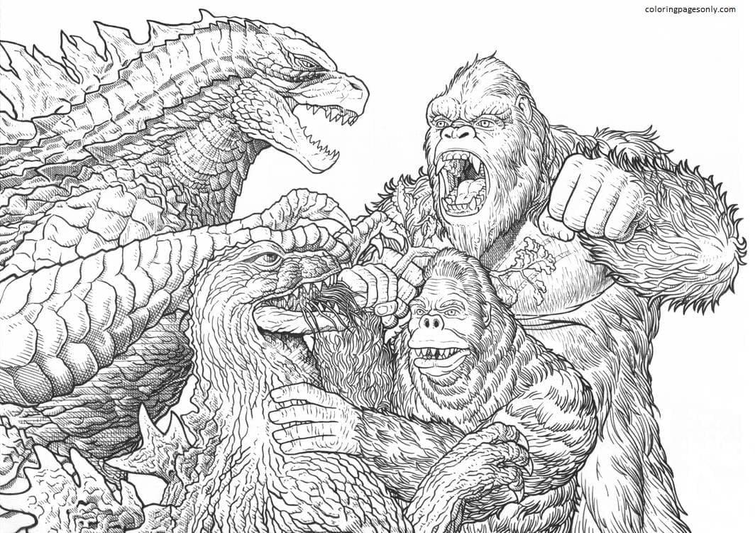 Godzilla and King Kong 1 Coloring Page
