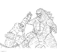 Godzilla and Kong Coloring Page