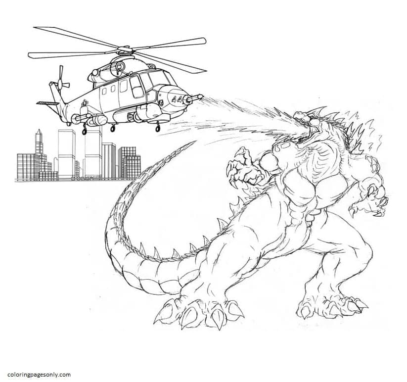 Godzilla attacking a helicopter Coloring Page