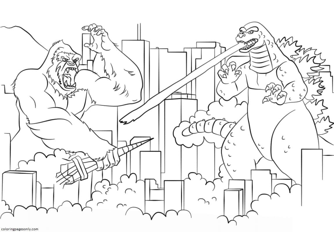 Godzilla fights King Kong Coloring Page