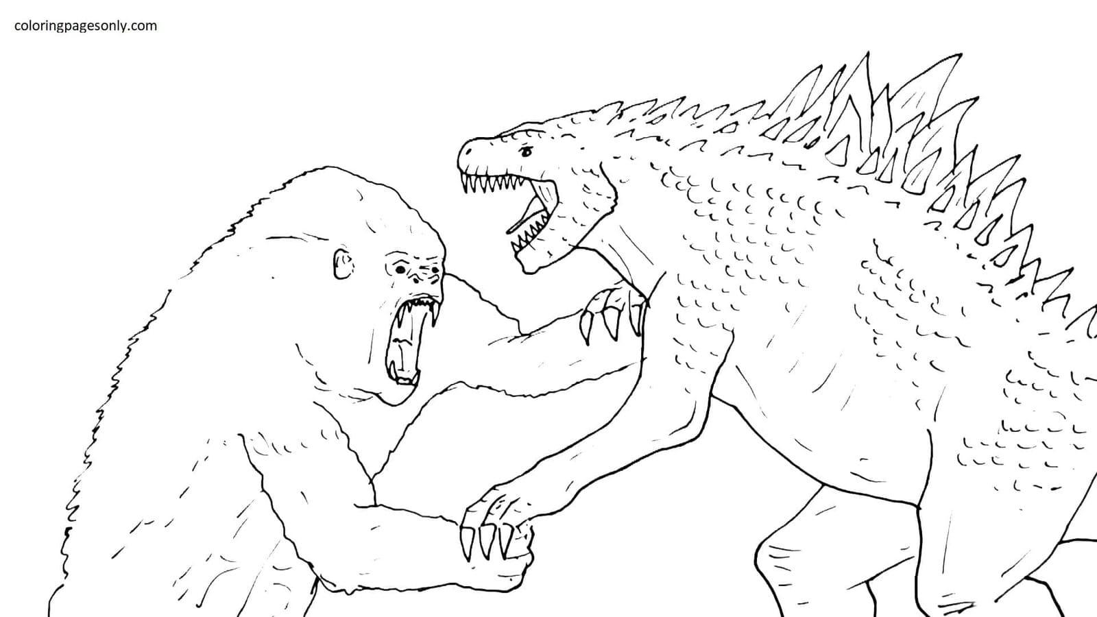 Godzilla vs King Kong 2 Coloring Page