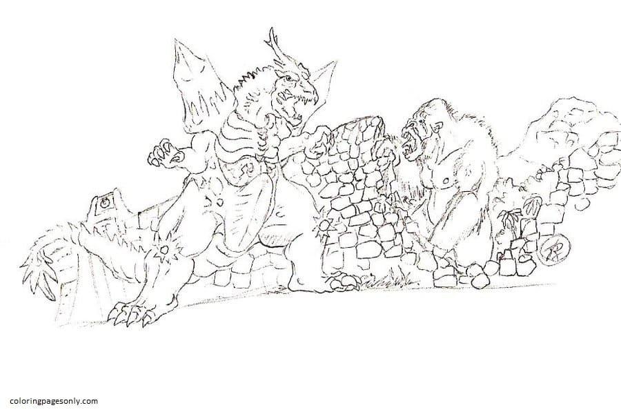 Godzilla vs King Kong 3 Coloring Page