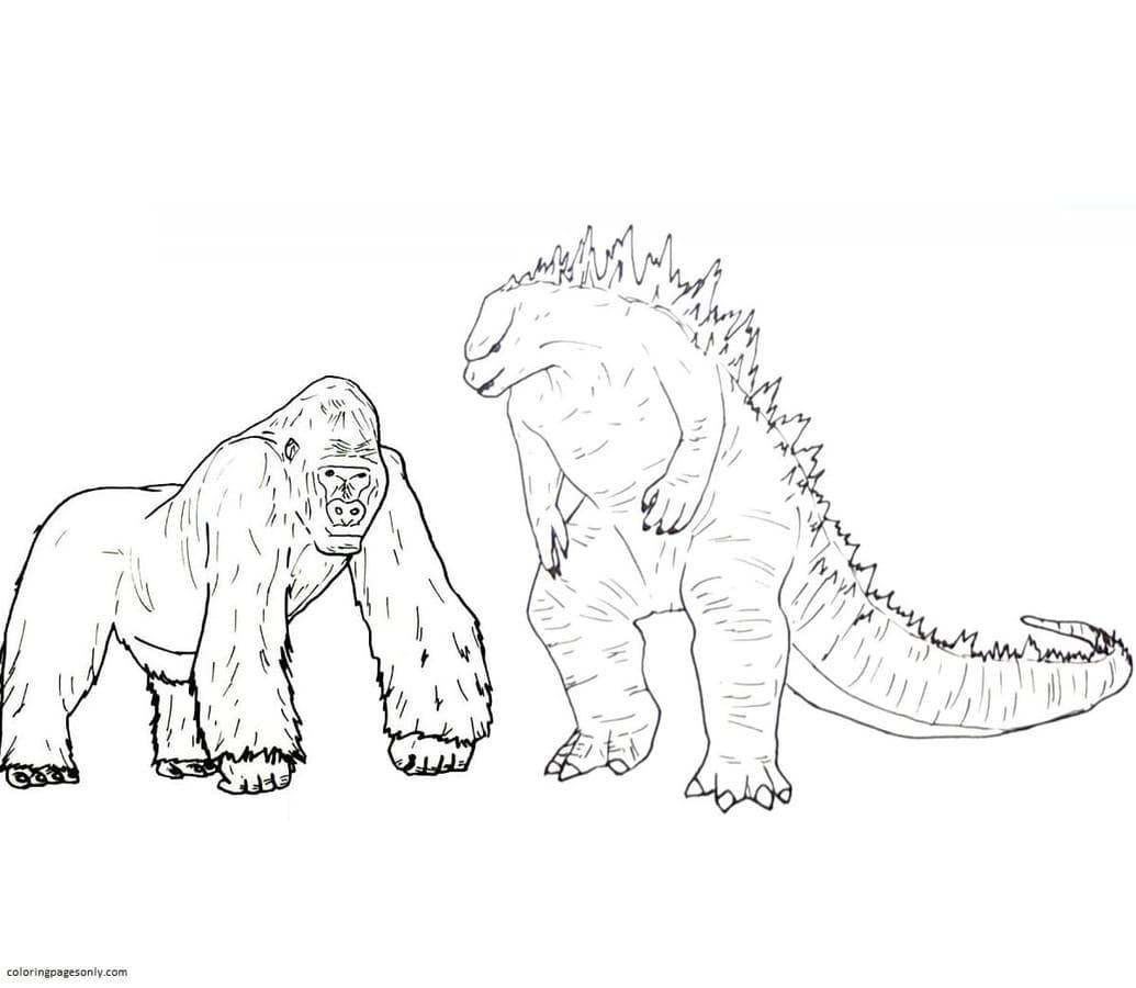 Godzilla vs King Kong 4 Coloring Page