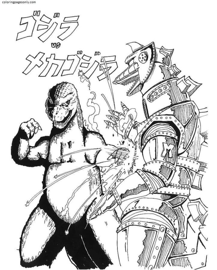 Godzilla vs robot Coloring Page