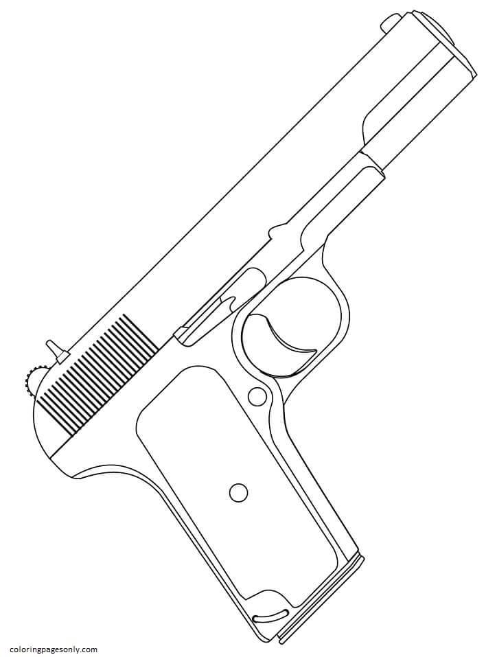 Handgun Coloring Page