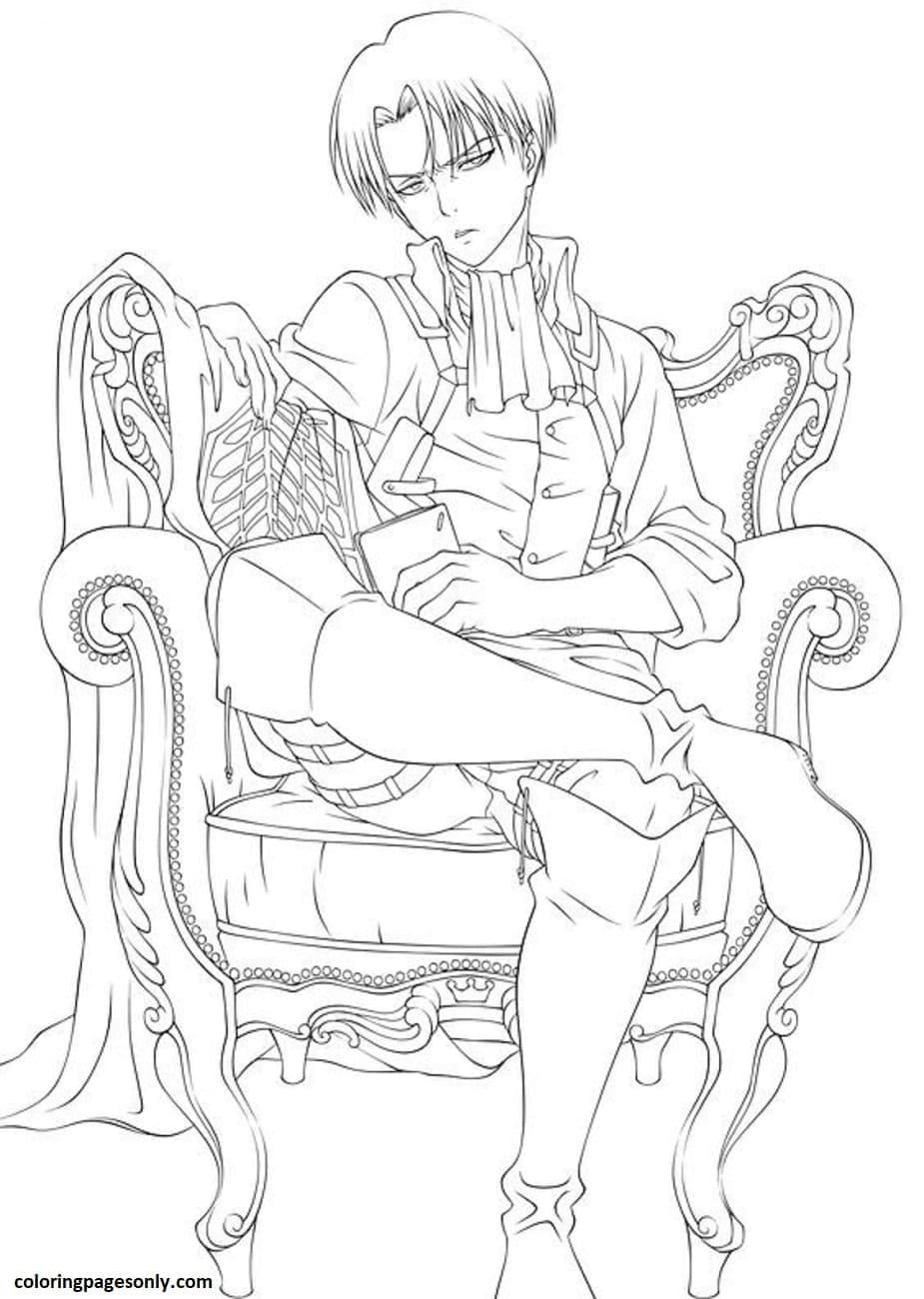 Handsome Levi Ackermann Coloring Page