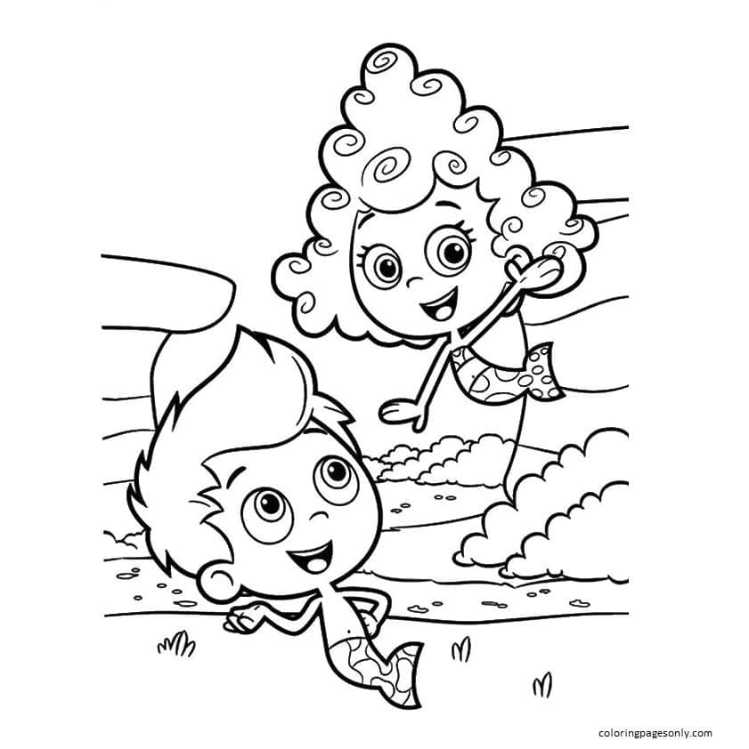 Happy Couple of Bubble Gup Coloring Page
