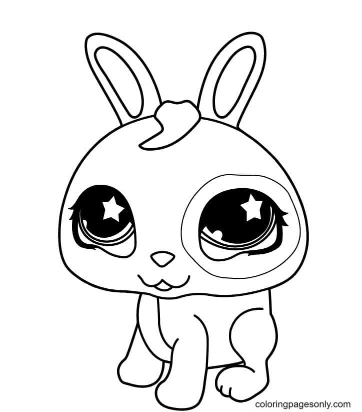 Happy Cute Bunny Coloring Page