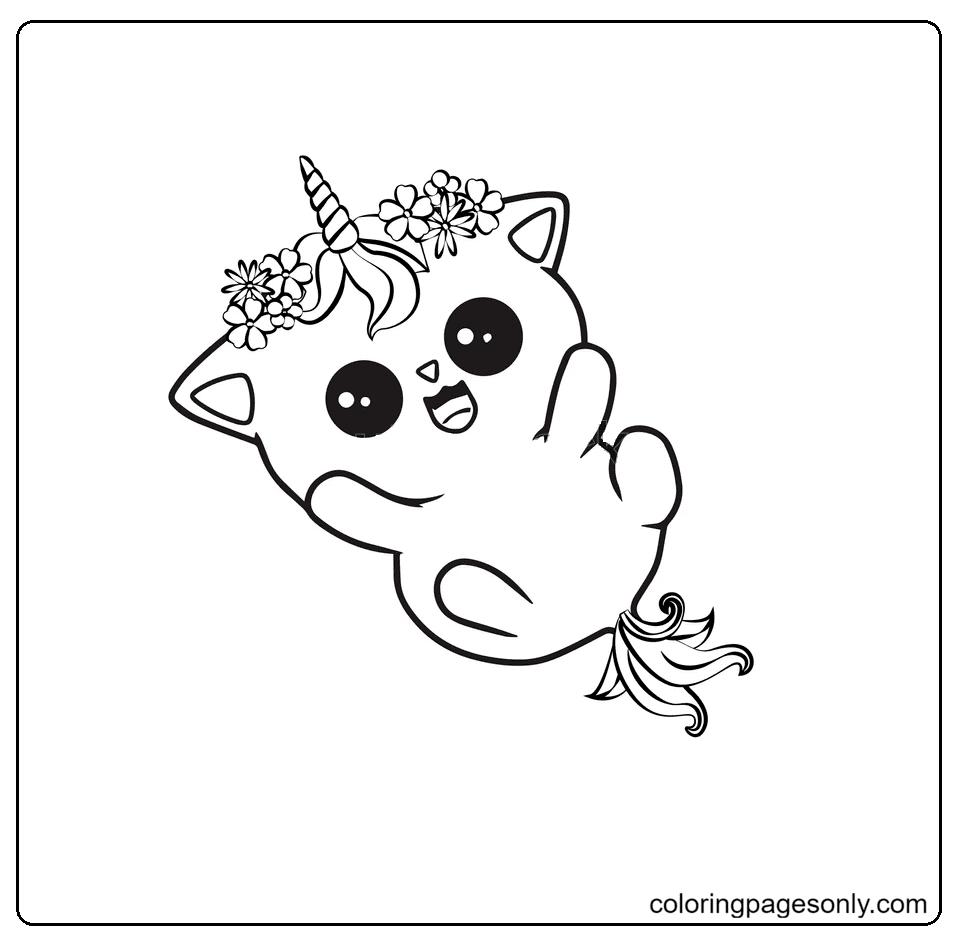 Happy Cute Unicorn Cat Coloring Page