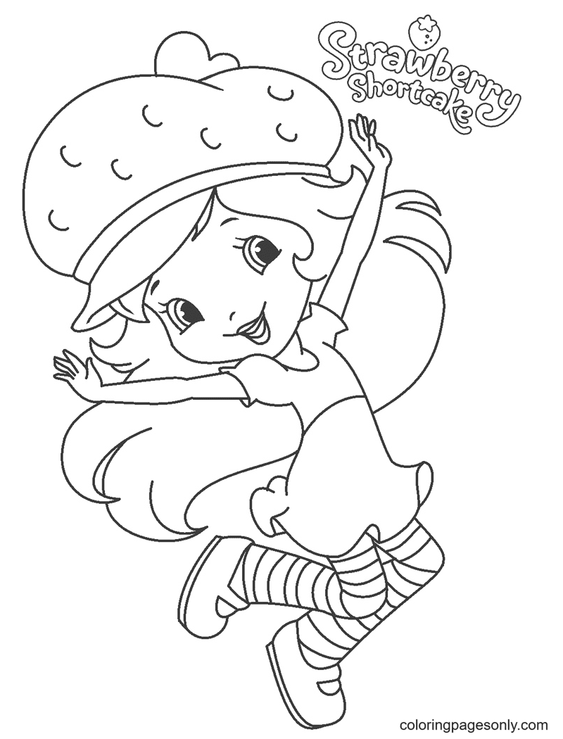 Happy Strawberry Shortcake Coloring Page