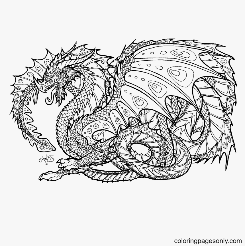 Hard Dragon Coloring Page
