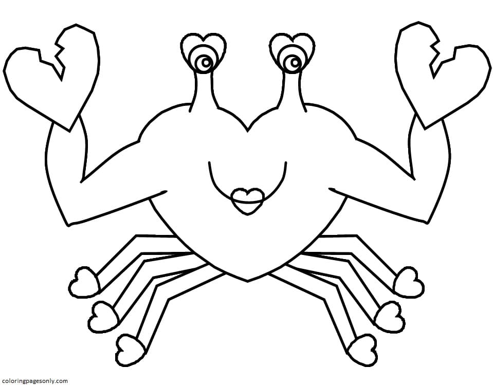 Heart Crab Coloring Page