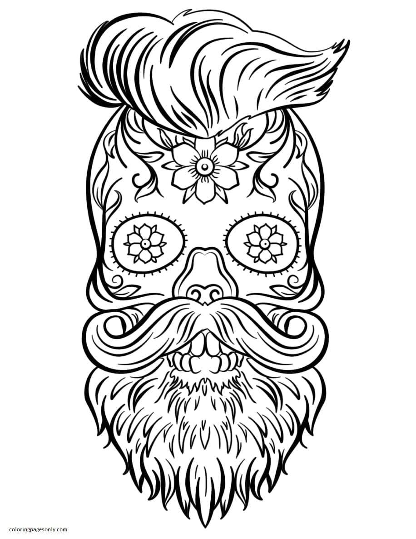 Hipster Sugar Skull Coloring Page