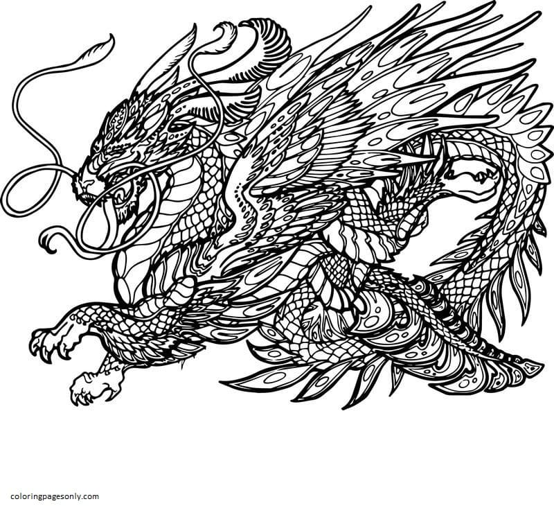 Hydra Dragon Creature Coloring Page