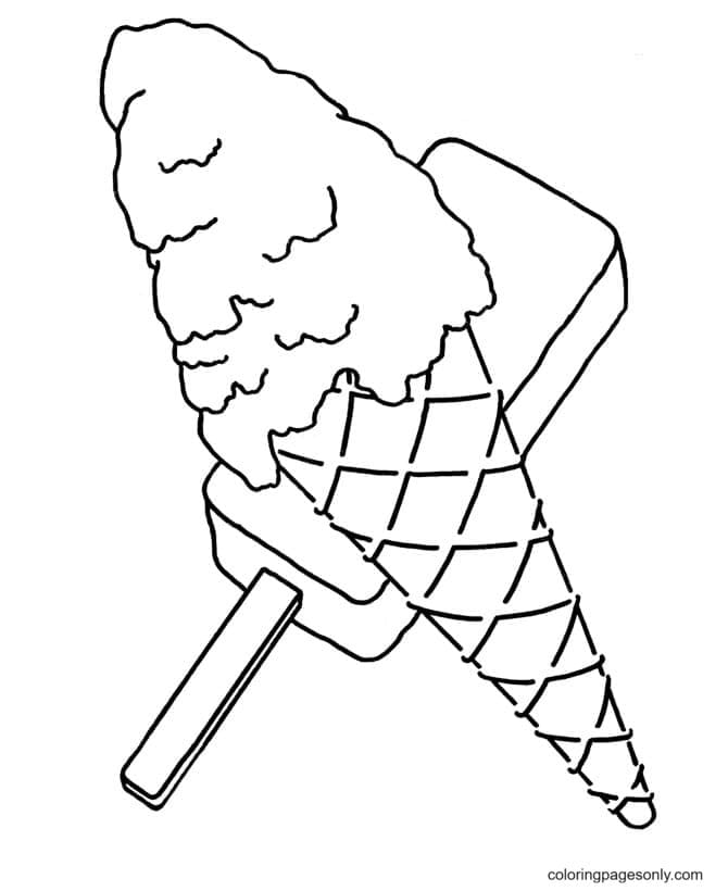 Ice Cream Cone And Popsicle Coloring Page