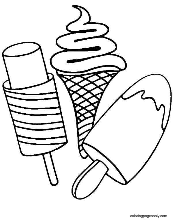 Ice Cream Treats Free Coloring Page