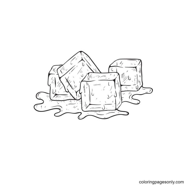 Ice Cubes Melting 2 Coloring Page