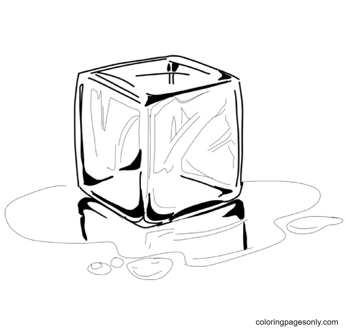 Ice Cubes Melting 3 Coloring Page