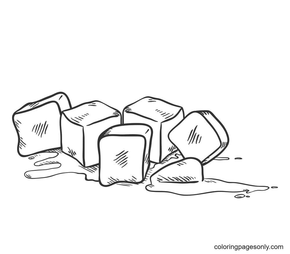 Ice Cubes Melting 4 Coloring Page
