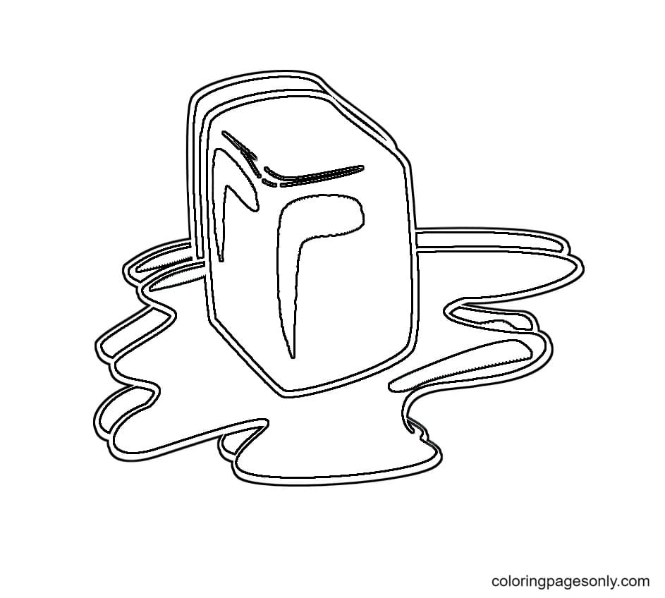Ice Cubes Melting Coloring Page