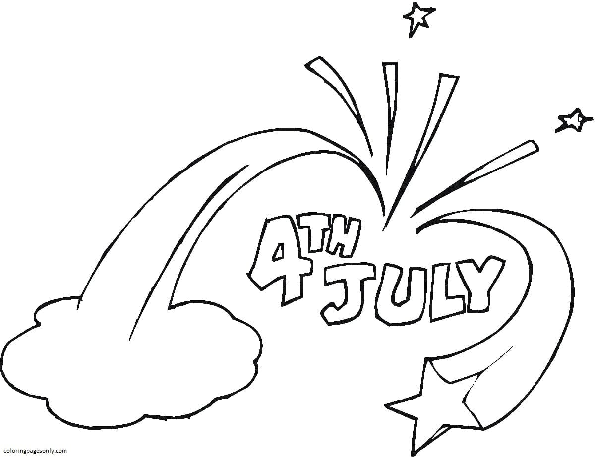Independence Day 4th july stars Coloring Page