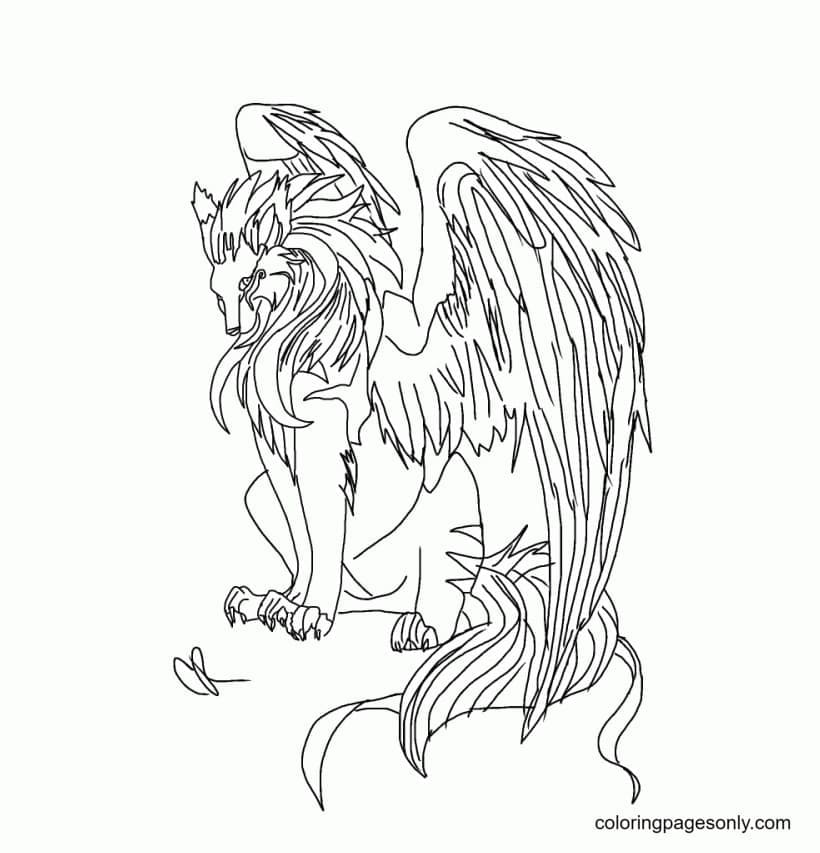 Inspirational Winged Wolf Coloring Page