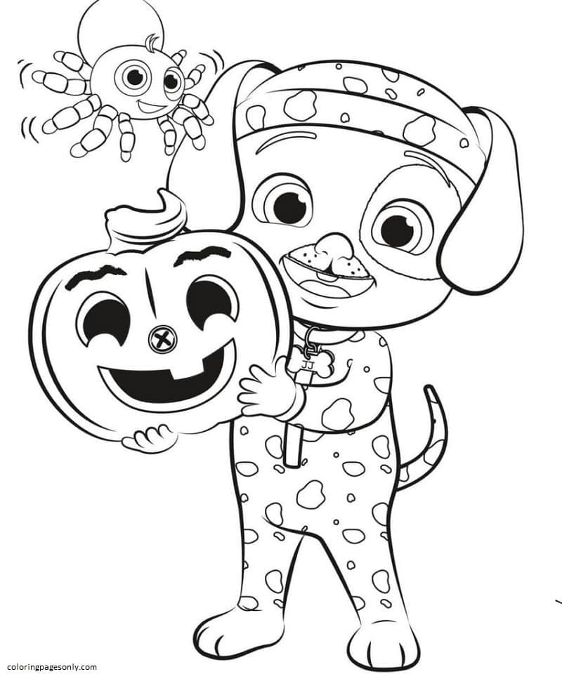 JJ Halloween Cocomelon Coloring Page