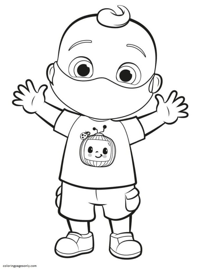 Johnny in Mask Coloring Page
