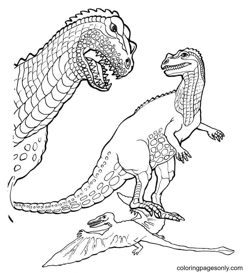 Jurassic Park Ceratosaurus and Pteranodon Coloring Page