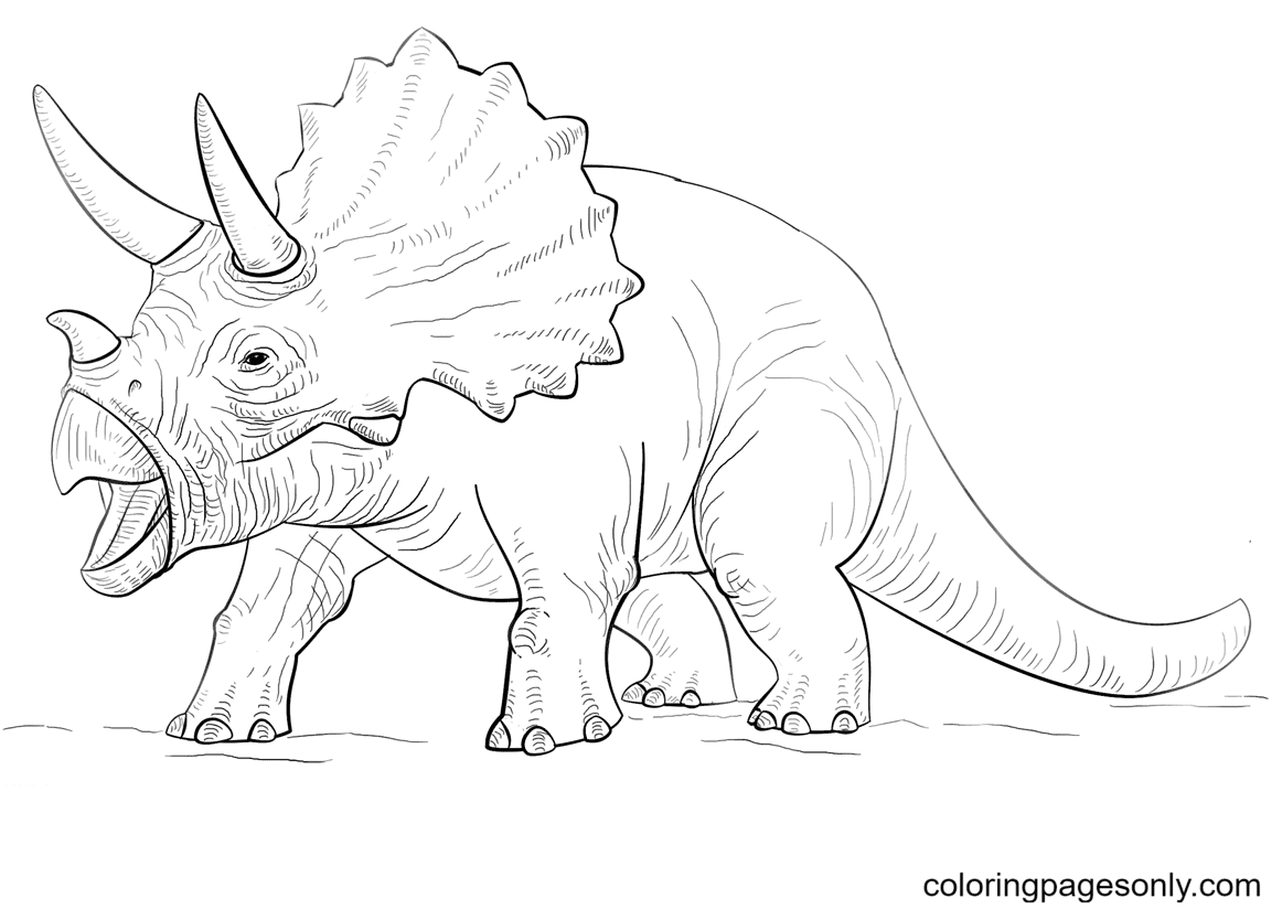 Jurassic Park Triceratop dinosaur Coloring Page