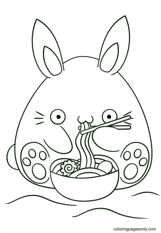 Kawaii Bunnies eats noodle Coloring Page