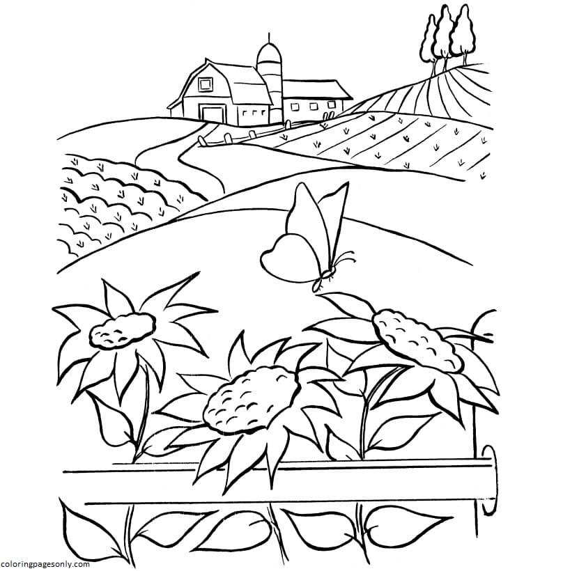 Kids Farm Coloring Page
