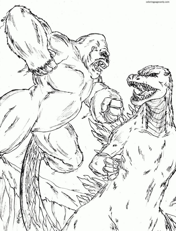 King Kong Vs Godzilla 2 Coloring Page