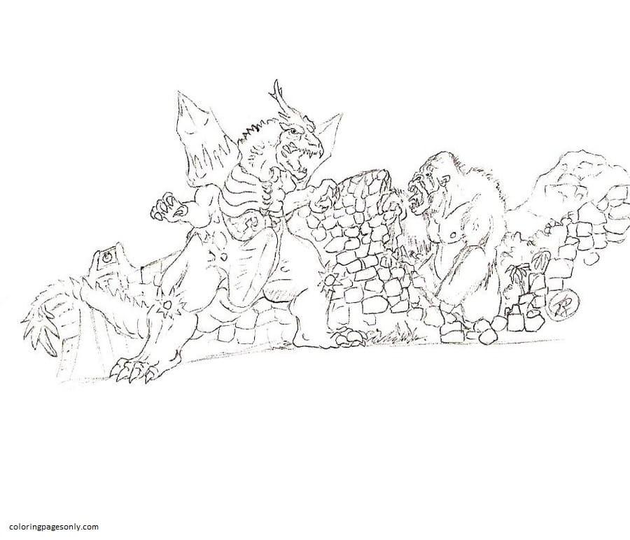 King Kong Vs Godzilla 3 Coloring Page