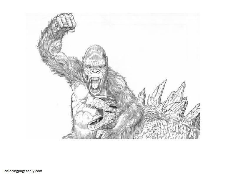 King Kong and Godzilla 2 Coloring Page
