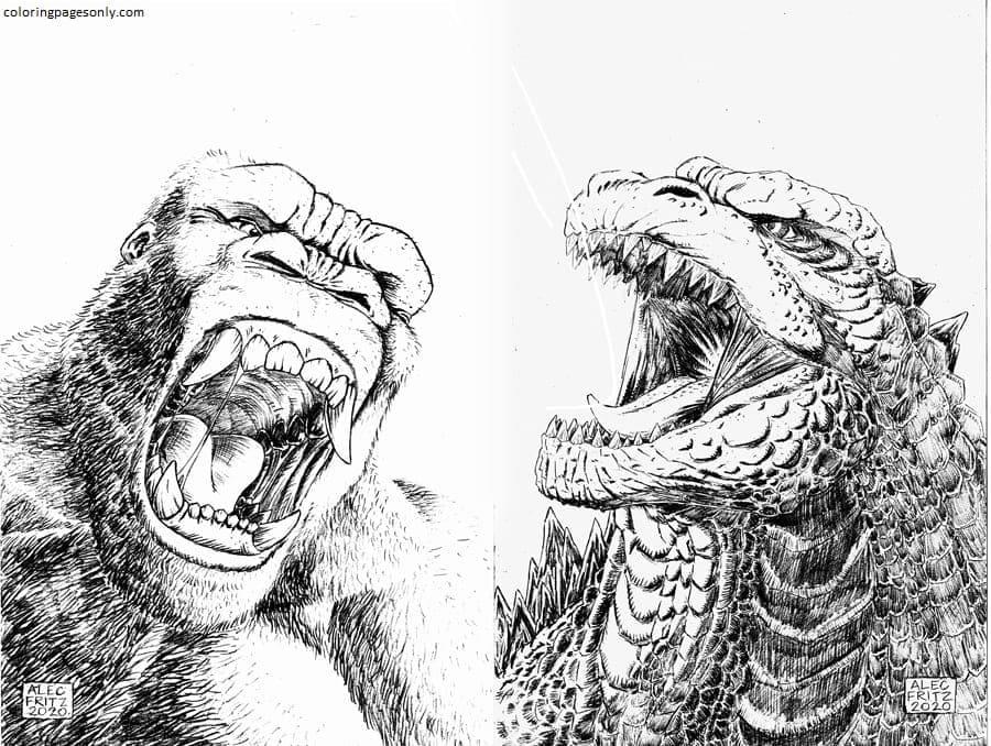 King Kong and Godzilla Coloring Page